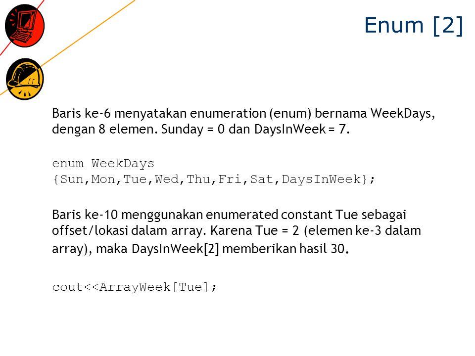 Enum [2] Baris ke-6 menyatakan enumeration (enum) bernama WeekDays, dengan 8 elemen. Sunday = 0 dan DaysInWeek = 7.
